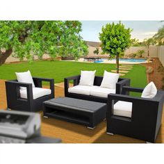 Modway Lunar 5 Piece Outdoor Patio Sofa Set in Espresso White Outdoor Sofa Sets, Outdoor Spaces, Outdoor Living, White Cushions, Modern Patio, Patio Furniture Sets, Mid Century Modern Furniture, Espresso, Rattan