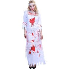 Beonlema Halloween Disfraces For Women Scary Blood Long White Dress Ghost Cosplay Costume Femme Halloween Playing Lace Dresses Zombie Bride Costume, Halloween Costume Wedding, Zombie Halloween Costumes, Holiday Costumes, Halloween Dress, Sexy Lace Dress, Lace Dresses, White Dress, Fancy Dress