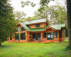 Hiawatha Log Homes can help your dream come true! Dream Home Design, My Dream Home, House Design, Cozy Cabin, Cozy House, Log Home Plans, House Plans, Living Room Decor Cozy, Log Cabin Homes