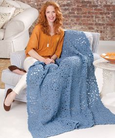 This elegant throw is made in beautiful lazy squares. You can join the squares as you crochet the last round—so there is very little finishing.