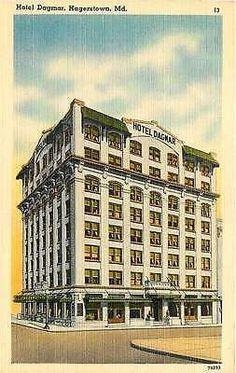 Hagerstown Maryland MD 1940s Hotel Dagmar Antique Vintage Linen Postcard