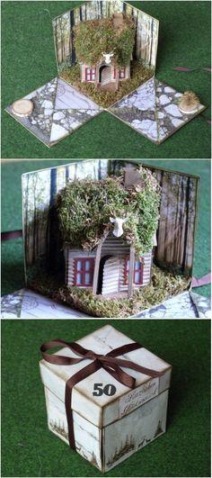 explosion box with tim holtz vintage village die