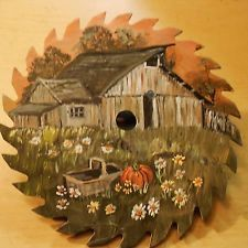 "hand painted saw blades | Hand painted 7 1/4 inch saw blade "" COUNTRY GRAY BARN FALL SUNSET ..."