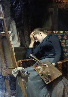 Emma Sparre (Swedish painter) 1851 - 1913 Resting by the Easel, 1890 oil on canvas x cm. x 38 in.) signed: E. Artist Life, Artist At Work, Renaissance Kunst, Classic Paintings, Victorian Art, Russian Art, Russian Painting, Classical Art, Portrait Art