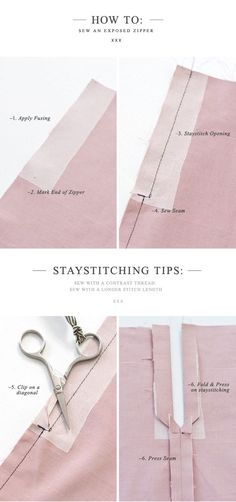 {How to:} Sew an Exposed Zipper (with a seam) I believe one cannot have enough zipper tutorials! LOL Sewing Basics, Sewing Class, Love Sewing, Sewing For Beginners, Couture Sewing, Diy Couture, Techniques Couture, Sewing Techniques, Sewing Stitches