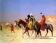 "Jean-Leon Gerome  Arabs Crossing the Desert  1870  Oil on canvas  56 x 41.2 cm  (22.05"" x 16.22"")  Private collection"
