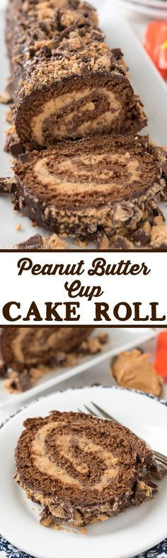 Peanut Butter Cup Cake Roll - its an elegant that is. Peanut Butter Cup Cake Roll - its an elegant that is actually an easy recipe to make! cake filled with peanut butter cup filling - the perfect dessert! Peanut Butter Desserts, Chocolate Peanut Butter, Chocolate Cake, Chocolate Desserts, Chocolate Lovers, Chocolate Chips, Chocolate Filling, Chocolate Cheesecake, Chocolate Roulade