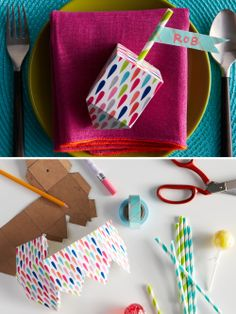 Playful place cards: Create colorful dreidels with craft paper and personalize for each of your guests.