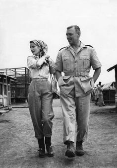 Grace Kelly and Clark Gable on the set of Mogambo directed by John Ford ,1953