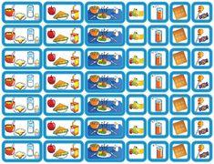Eten & Drinken is een set van 49 magnetische planbord pictogrammen voor kinderen dat de maaltijden van de dag maar ook de tussendoortjes bevat.