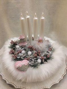 Christmas Centerpieces, Christmas Decorations, Table Decorations, Winter Christmas, Xmas, White Candles, Topiary, Handmade, Home Decor