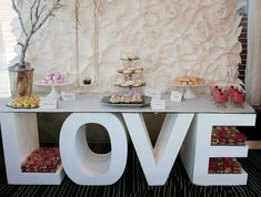 standing table sign love thick letters large love sign candy bar freestanding giant foam sign w Styrofoam Letters, Love Letras, Photo Zone, Standing Table, Wedding Letters, Large Letters, Giant Letters, Table Signs, Love Signs