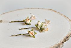 Ivory flower hair pins, bridal hair clips, victorian bobby pins, wedding hair accessories by gardensofwhimsy on Etsy