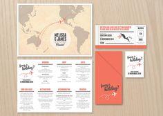 Travel Map and Boarding Pass DIY printable por StationeryPolkadot