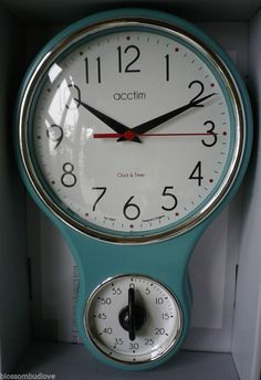VINTAGE RETRO 50s STYLE DUCK EGG BLUE KITCHEN WALL CLOCK U0026 TIMER NEW
