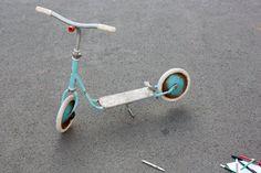 Children scooter, kids toy vintage, metal, nostalgic Germany 60s 70s, decoration, light blue white by wohnraumformer auf Etsy
