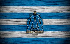 Download wallpapers Olympique Marseille, 4k, France, Liga 1, wooden texture, Olympique Marseille FC, Ligue 1, soccer, football club, FC Olympique Marseille