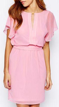 Warehouse Chiffon Angel Sleeve Dress