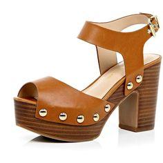 River Island Light brown block heel clog sandals found on Polyvore