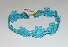 Lace Teal Flower Choker Necklace Handmade by musicissanity on Etsy