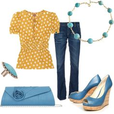 Mustard polka dot structured t-shirt, blue jeans, blue teal open toe wedges, blue clutch.