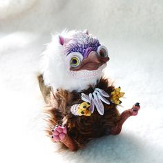 Brown White Griffin OOAK Art Doll with Feather by Ermellin on Etsy