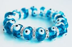 Evil Eye Beads Handmade Glass Bracelet by TheGrandBazaar on Etsy, $15.00