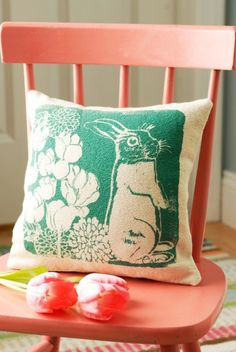 Screen printed pillow.