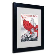 Soviet Russian Poster For the Motherland' White Matte, Framed Wall Art