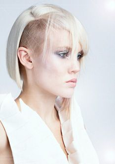 Shaved Side Hairstyle, Futuristic Style, Side Cut, Girl in White, Future Fashion, Angled platinum bob with undercut by Belinda Keeley for Chumna Concept Salon