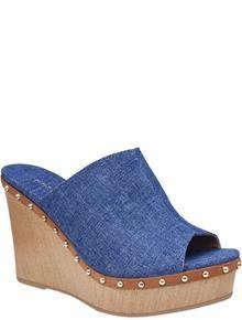 1e9bfe30f4 Clog Peep Toe Jeans Melhores Sapatos