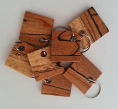 Wooden keyring, spalted beech keyrings, Key ring, keyring, key rings, keyrings, Larch, keys, key chain, fathers day gift by CottageCoppicing on Etsy