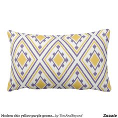 Modern chic yellow purple geometric ikat pillow
