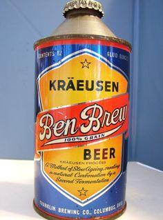 Ben Brew Beer Can Cone Top w Lid Columbus Ohio   eBay