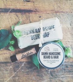 Hoppy Trio - Soap Bar, Wax & Lip Balm by Damn Handsome on Scoutmob Shoppe. Made with the maker's own organic hops. #beer #soap