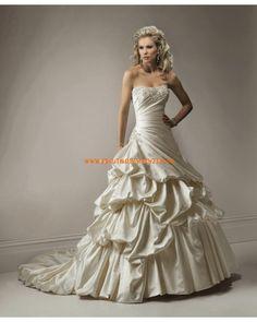 Plissiertes schönes Brautkleid aus Taft Bodenlang A-Linie Trägerlos