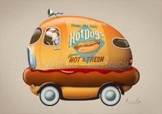 Children illustration art print orange hot dog by emiliovillalba, €28.00