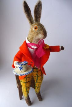 Original and One of a Kind Needle Felted Mad March Hare Designed and handmade from scratch by Miss Bumbles This Big Hare is made from 100% pure