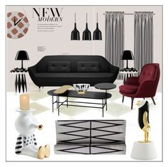 """""""New Modern"""" by frenchfriesblackmg ❤ liked on Polyvore featuring interior, interiors, interior design, home, home decor, interior decorating, Bosa, Fritz Hansen, Metalarte and Bloomingville"""