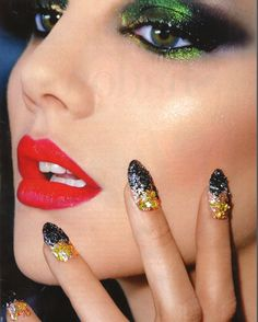 For the Blonds Fall runway show, CND manicurists topped gold polish With shards of black and gold glass. See the look below featured in the November issue of @Allure Magazine