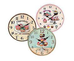 COCINA DE CAMPO: Set de 3 relojes de pared en DM Pasteles