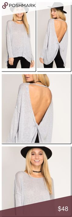 """COMING SOON LONG SLEEVE PULL OVER TOP Blue Gray LONG SLEEVE PULL OVER TOP WITH TWISTED OPEN BACK  S:60%COTTON 40%RAYON KNIT TOP- Model is 5'8"""" She and Sky Tops"""