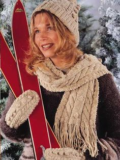 Free Rambouillet Aran Scarf Set Knit Pattern -- Download this free hat and scarf knitting pattern from FreePatterns.com.