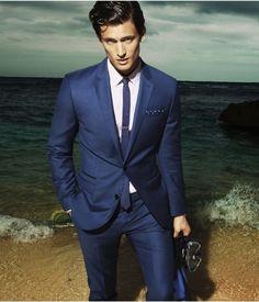 New Arrival Fashion Men Suits Custume Homme Tuxedos Brand FitBlue Notch Lapel Two (Jacket+Pant+Handkerchief+Tie) Men's Fashion, New Mens Fashion, Fashion Suits, Fashion Ideas, Best Male Models, Blue Suit Wedding, Navy Blue Suit, Suit Shop, Preppy Outfits