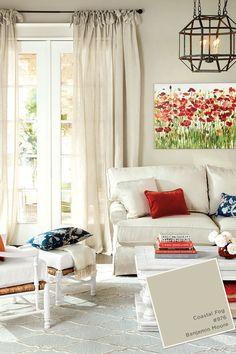 Benjamin Moore's Coastal Fog paint color in Ballard Designs living room