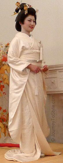 Japanese wedding: the white kimono, obi sash and obi cord - worn under the uchikake robe.