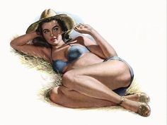 Pinup Farm Girl Laying On Hay Poster Print (36 x 54)