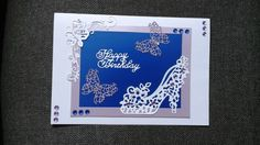 teal and white dragonfly card using tattered lace panel