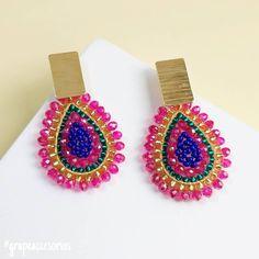 Tatting Jewelry, Thread Jewellery, Diy Jewelry, Beaded Jewelry, Jewelry Making, Jewlery, Seed Bead Earrings, Gemstone Earrings, Beaded Earrings