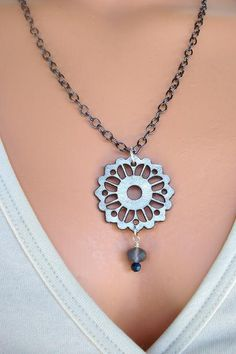 Lasercut Leather Medallion Necklace Leather by AJBcreations, $20.00